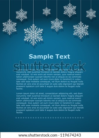 Vector snowflakes with shadows background - stock vector