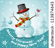Vector snowman. EPS 10 vector illustration for Christmas design. - stock vector