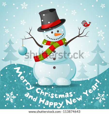 Vector snowman. EPS 10 vector illustration for Christmas design. - stock vector