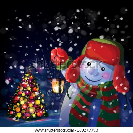Vector snowman holding  lantern on Christmas tree background. - stock vector