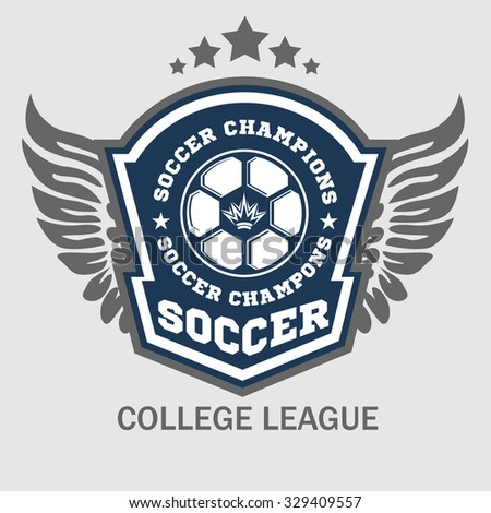 Vector Soccer Badge, patch and Football Emblem on light background. - stock vector