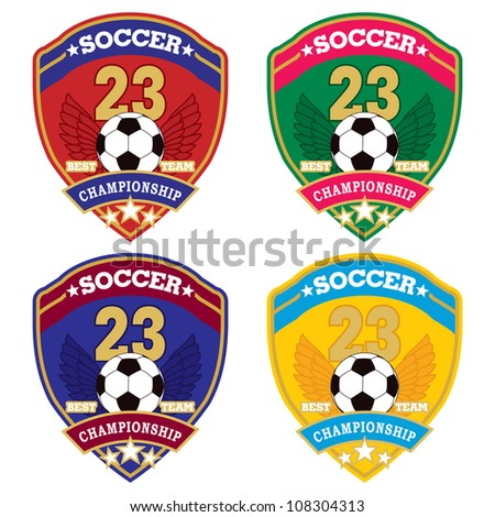 Vector soccer badge / Vector soccer labels / Soccer emblems - stock vector