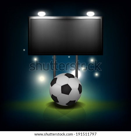 vector soccer ball with blank scoreboard : all objects group and separated layer - stock vector