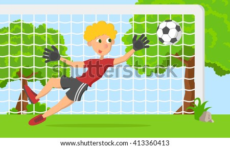 Vector soccer cartoon goalkeeper boy. Cartoon goalkeeper in gate. Cartoon goalkeeper catch ball. - stock vector