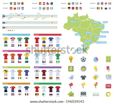 Vector soccer championship infographic elements  - stock vector