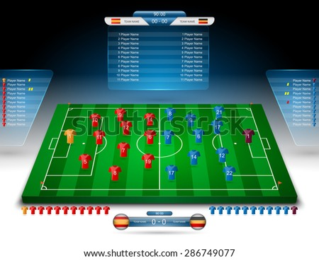 vector soccer field with scoreboard,vector - stock vector