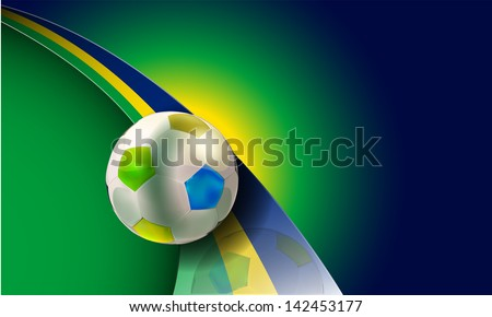 vector soccer illustration with brazil flag colors,eps10 vector, gradient mesh and transparency used,raster version available - stock vector