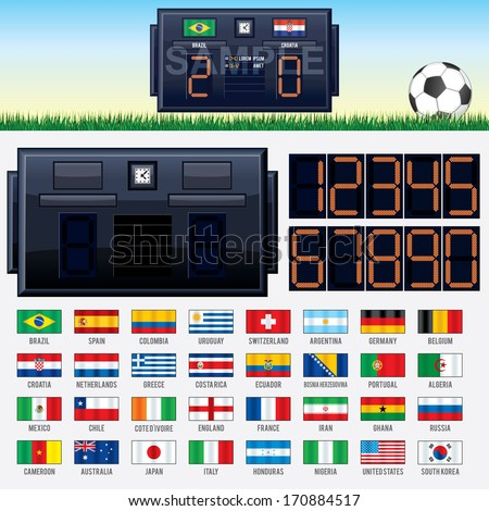 Vector Soccer Kit 2014. Stadium Scoreboard, National Team Flags, Banner Template and Set of Led Numbers - stock vector