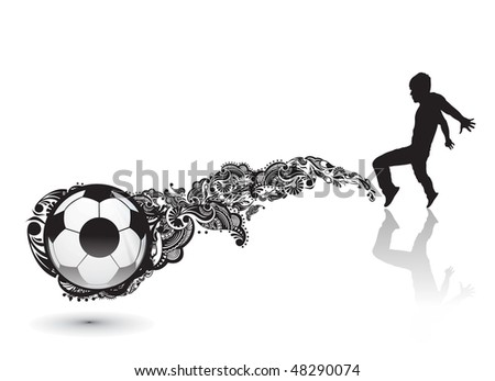 Vector Soccer Player in action with kicked of ball, vector illustration - stock vector