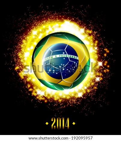 Vector soccer poster with football ball with Brazil flag, illustration template design. - stock vector