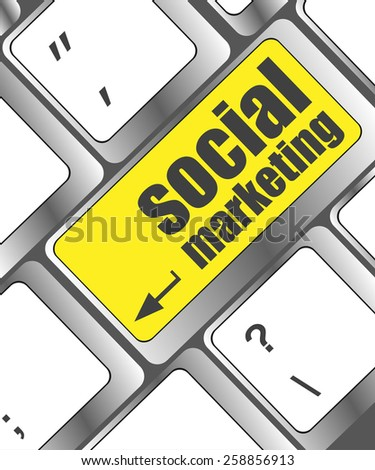 vector social marketing or internet marketing concepts, with message on enter key of keyboard - stock vector