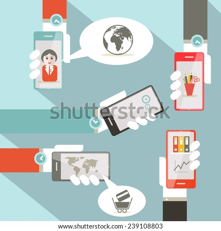Vector Social Media Symbols with Cell Phones in Hands - stock vector