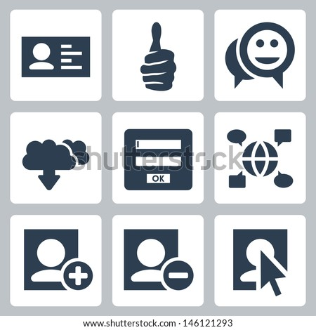 Vector social network icons set - stock vector