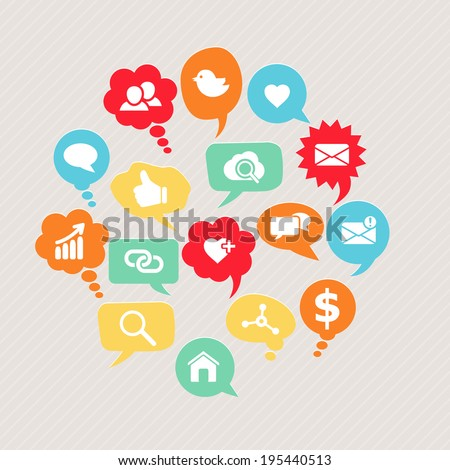 Vector social network icons set with people, like, bird, share, group, email, global, home, heart, contacts, friends on colorful cloud thoughts and speech bubbles  - stock vector