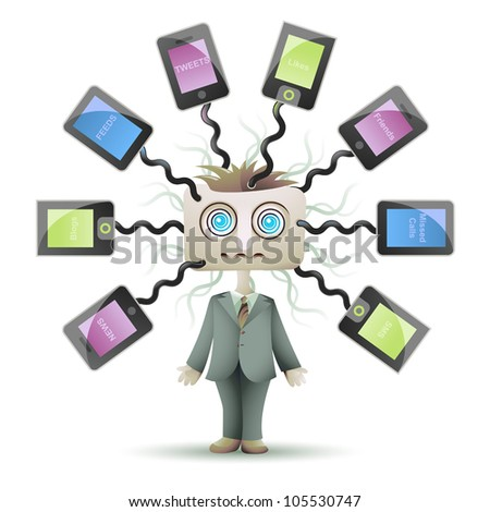 Vector social networking guy plugged into cyberspace - stock vector