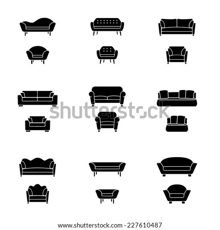 Vector sofa and armchair icons isolated. Interior elements collection. - stock vector