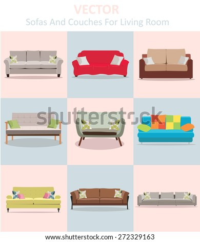 Vector sofa and couches for living room , eps10 - stock vector
