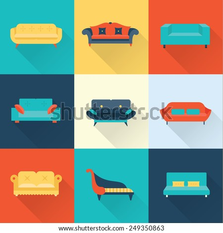 Vector sofa icons - stock vector