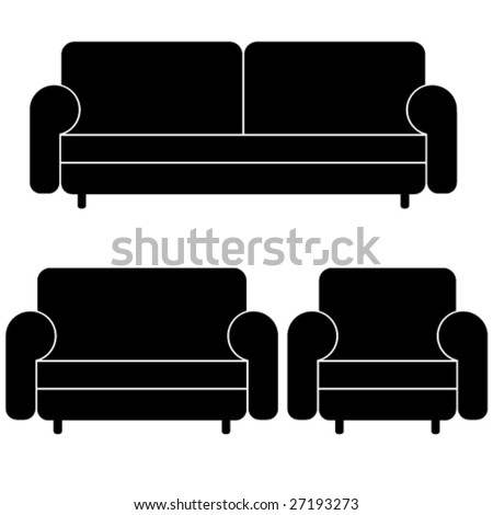 vector sofas and armchair - stock vector