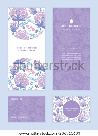 Vector soft purple flowers vertical frame pattern invitation greeting, RSVP and thank you cards set - stock vector