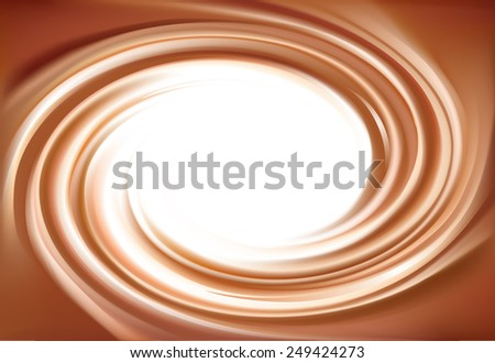 Vector soft wonderful mixed dark beige curvy swirling backdrop. Beautiful delicious volute fluid choco creamy surface with space for text in white center    - stock vector