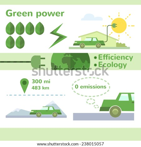 Vector solar energy electric car infographic flat illustration - stock vector