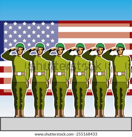 Vector soldiers salute the flag - stock vector