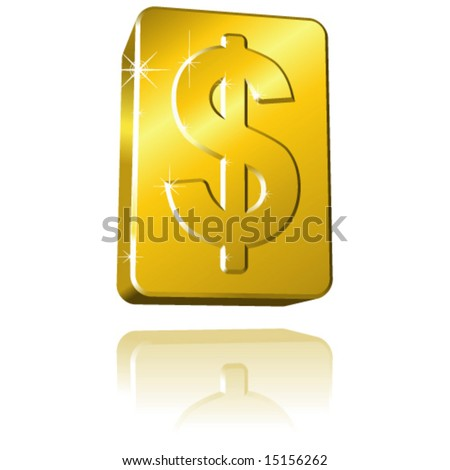 Vector Solid Gold Dollar Sign Bar with Sparkle & Reflection - stock vector