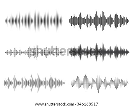 Vector sound waves. Music Digital Equalizer. - stock vector