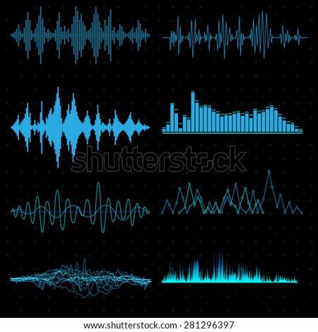 Vector sound waves set - stock vector