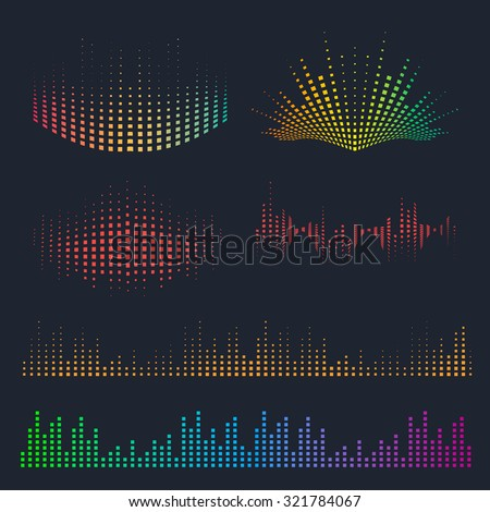 Vector sound waves set. Music colorful elements for your design. - stock vector