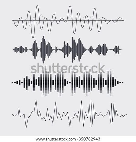 Vector sound waves set. Music. Vector illustration. - stock vector