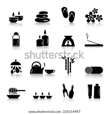 Vector spa and relaxation icons isolated on white - stock vector