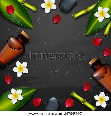 vector spa background with tropical flowers. Summer tropical green leaves - stock vector