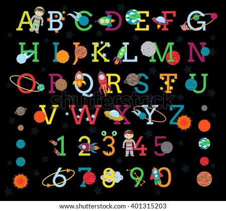 Vector Space Alphabet with All 8 Planets and the Sun - stock vector