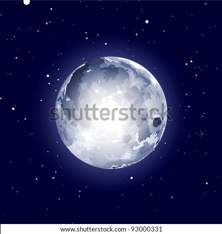 vector space background with the moon and stars - stock vector