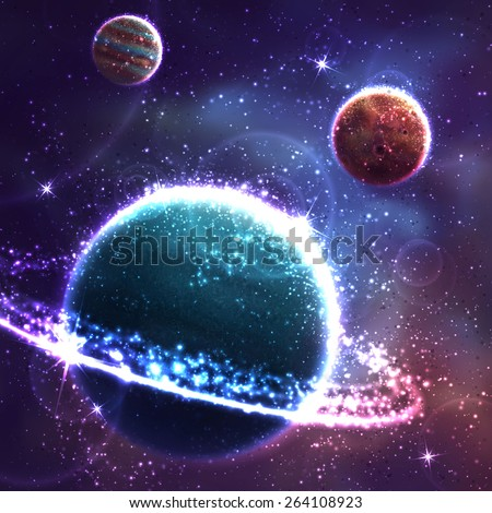 Vector space background with three far planet. - stock vector