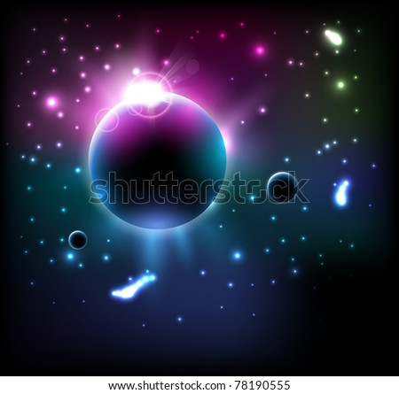 vector space eclipse - stock vector