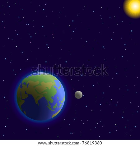 Vector, space:  planets mother Earth, moon, sun and stars - stock vector