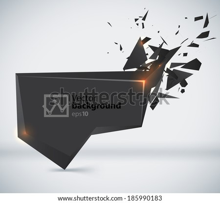 Vector Speech Black Bubble Crushing with text place - stock vector