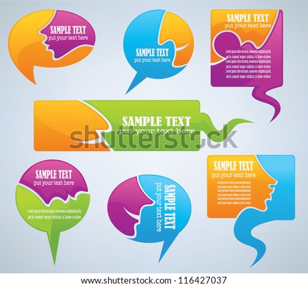 vector speech bubbles look like a head and talking face - stock vector