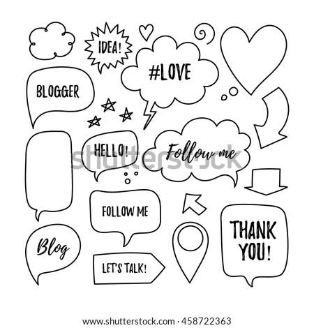 Vector speech bubbles with phrases Blogger, Blog, Love, follow me, Idea, Hello, Lets's talk, Thank you. Hand drawn blog labels, social media icons set. - stock vector