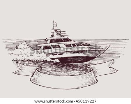 Vector speed boat - stock vector
