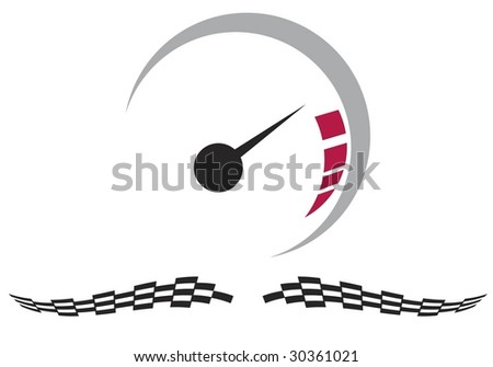 Vector speedometer and checkered racing flags - stock vector
