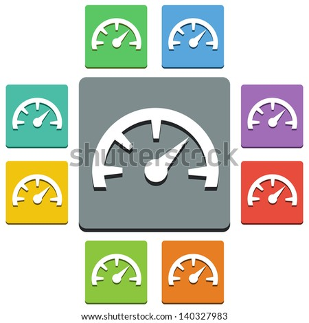 Vector speedometer icons - 'almost flat' style - 9 colors - stock vector