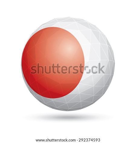 Vector sphere with flag of Japan. - stock vector