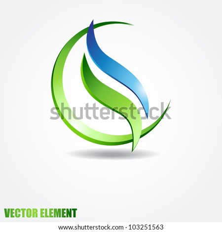 Vector sphere with two waves inside. Eco concept. - stock vector