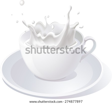 vector splash of milk in cup - illustration isolated on white background - stock vector
