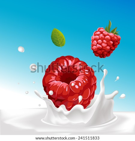 vector splash of milk with raspberry - illustration with blue background - stock vector