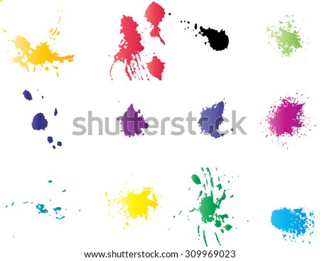 Vector Splat Set . Bright Ink Splats . Spray Paint Splatters . Vector Paint Splats .Ink Blots and Splashes . Grunge Ink Stains . Distress Vector Stains for Grunge Effects . Ink Splats for Design Use . - stock vector